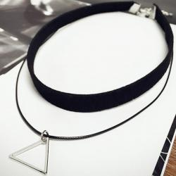 Colier Triangle - Negru/Arginite